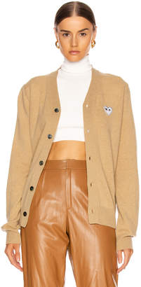 Comme des Garcons White Heart Cardigan in Tan   FWRD
