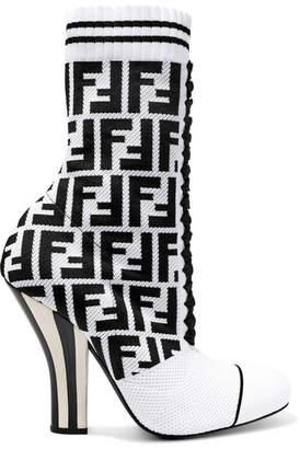 Fendi Logo-jacquard Stretch-knit And Mesh Sock Boots