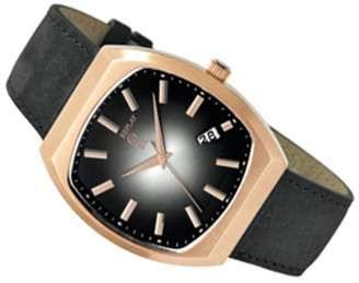 Replay RX8603NH Men's Analog Quartz Watch with Date Indicator and Black Leather Strap