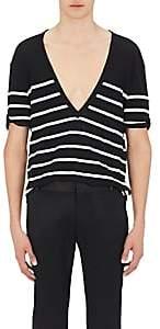 Balmain Men's Striped Cotton Deep V-Neck T-Shirt-Black