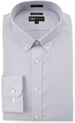 Neiman Marcus Men's Trim-Fit Regular-Finish Solid Dress Shirt, Gray
