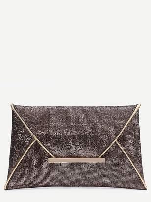 Shein Glitter Contrast Trim Envelope Clutch Bag
