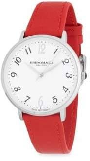 Bruno Magli Stainless Steel Round Slim Leather-Strap Watch