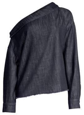RtA Zaria One-Shoulder Denim Blouse
