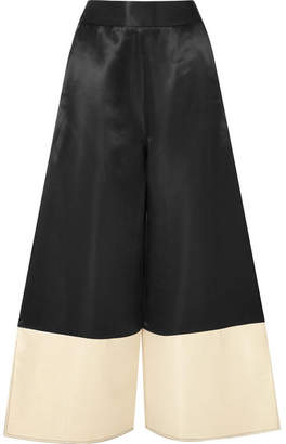 Beaufille - Sina Two-tone Satin Wide-leg Pants - Black
