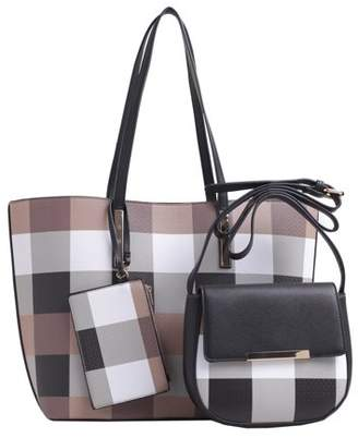 MKF Collection by Mia K Farrow Belle Plaid Tote Set