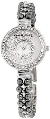 Adrienne Vittadini Collection Women Silver Analog Quartz Watch with Mother of Pearl Dial and Dark Stone Accent Strap