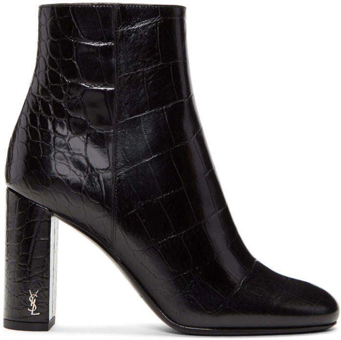 Saint Laurent Black Croc-Embossed Loulou Boots