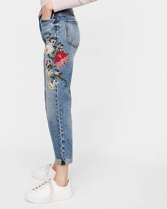 Express High Waisted Floral Embroidery Girlfriend Jeans