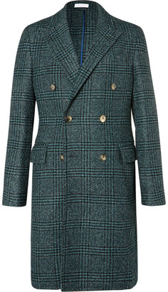 Double-Breasted Prince of Wales Checked Wool-Blend Bouclé Coat