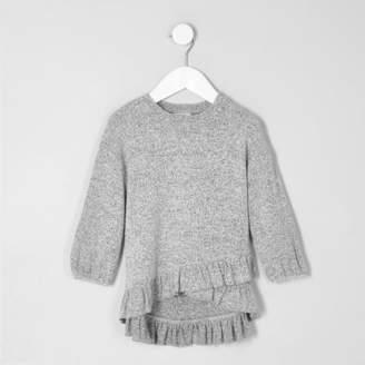 River Island Mini girls grey asymmetric frill knitted top