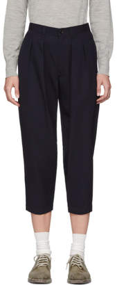 Comme des Garcons Navy Wool Pleated Trousers