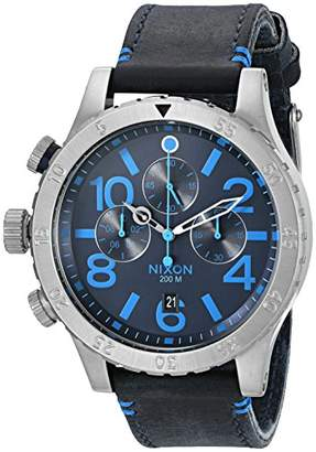 Nixon Men's '48-20 Chrono Leather' Quartz Stainless Steel and Blue Leather Casual Watch (Model: A3632219-00)