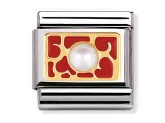 Nomination Composable Classic ELEGANCE Interlocking Hearts red enamel 030512-07
