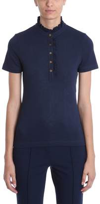 Tory Burch Blue Cotton Polo T-shirt