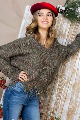 Main Strip Multi-Dot Distresses Sweater