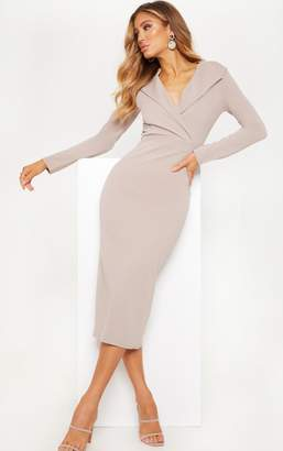 PrettyLittleThing Stone Long Sleeve Tux Midaxi Dress