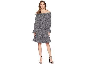 MICHAEL Michael Kors Graphic Leopard Off Shoulder Dress