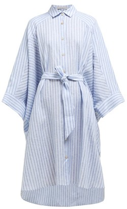 Palmer Harding Palmer//Harding Palmer//harding - Serra Striped Wide Sleeve Linen Shirtdress - Womens - Blue Stripe