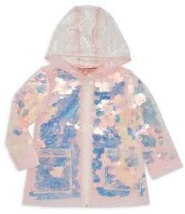 Urban Republic Baby Girl's Sheer Sequin Raincoat