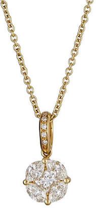 ZYDO Mosaic 18k Gold Diamond Square Drop Necklace