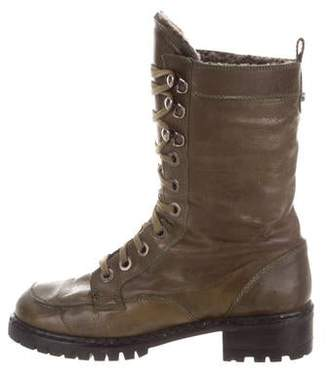 Stuart Weitzman Leather Mid-Calf Combat Boots