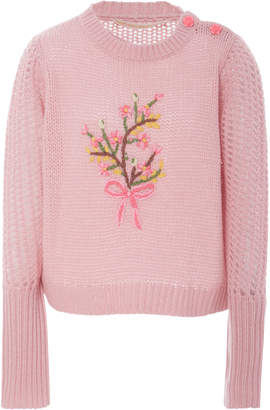 LoveShackFancy Rosie Floral Embroidered Sweater
