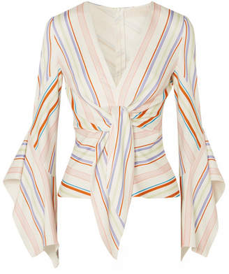 Peter Pilotto Tie-detailed Striped Stretch-jersey Blouse - White