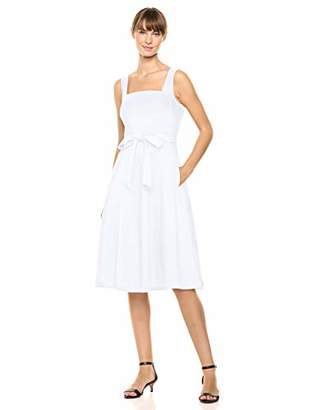 Calvin Klein Women's Sleeveless Square Neck Fit & Flare with Self Tie Belt Dress