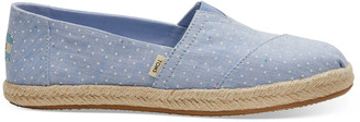 Toms Bliss Blue Tiny Chambray Dots Women's Espadrilles