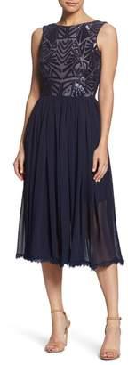 Dress the Population Cathy Sequin Tea Length Dress