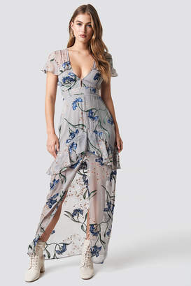 For Love & Lemons Cleo Floral Maxi Dress Silver Orchid