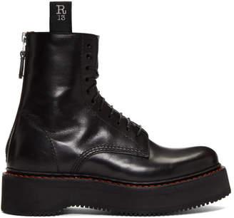 R 13 Black Stack Platform Lace-Up Boots