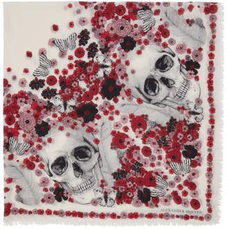 Alexander McQueen Ivory and Red Muse Skull Scarf