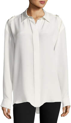 Alexander Wang Crepe de Chine Button-Shoulder Blouse