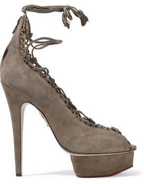 Charlotte Olympia Lace-Up Scalloped Suede Platform Sandals