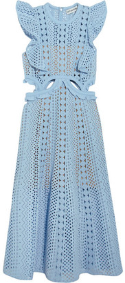 Self-Portrait - Cutout Guipure Lace And Broderie Anglaise Cotton Dress - Sky blue $510 thestylecure.com