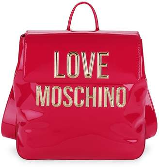 Love Moschino Women's Logo Faux Patent Backpack