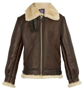 Schott Shearling Leather Jacket - Mens - Brown