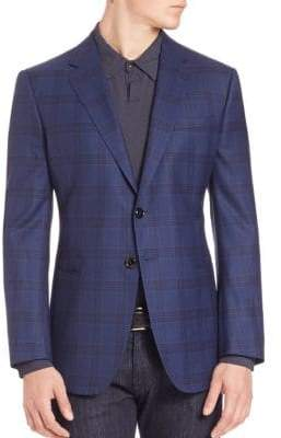 Armani Collezioni Windowpane Check Wool Jacket