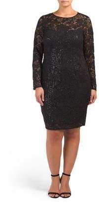 Plus Long Sleeve Lace Dress