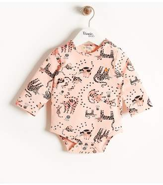 Bonnie Mob Cat Print Bodysuit (Baby Girls)