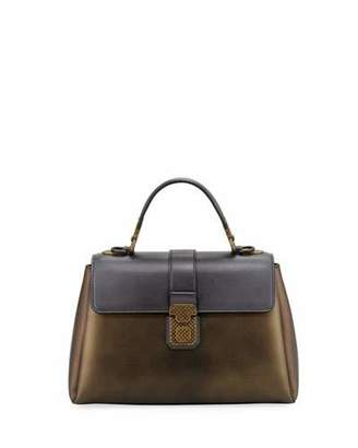 Bottega Veneta Piazza Metallic Leather Top-Handle Satchel Bag