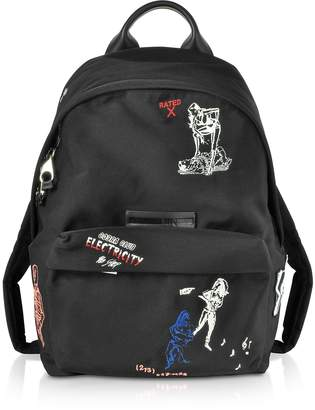 McQ Black Embroidered Nylon Backpack