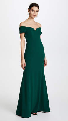 Badgley Mischka Off Shoulder Short Sleeve Gown