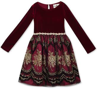 Rare Editions Little Girls Velvet Flocked Party Dress