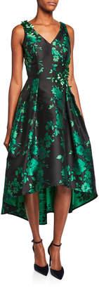 Rickie Freeman For Teri Jon V-Neck Sleeveless High-Low Floral Jacquard Dress