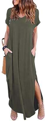 WO-STAR Women's Short Sleeve Summer Casual Loose T-Shirt Long Maxi Dress Side Split Beach Sundress