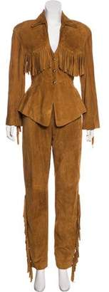 Thierry Mugler Suede Fringe-Trimmed Pantsuit