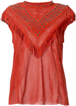 Drome fringed perforated T-shirt